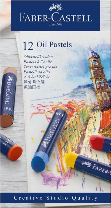 Creioane Ulei Pastel 12 Culori Faber-Castell 2