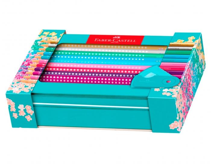 Set Cadou 20 Creioane Colorate Sparkle + Ascutitoare Sleeve Faber-Castell [3]