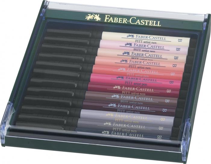 Cutie 12 Culori Pitt Artist Pen Tonurile Pielii Faber-Castell [0]