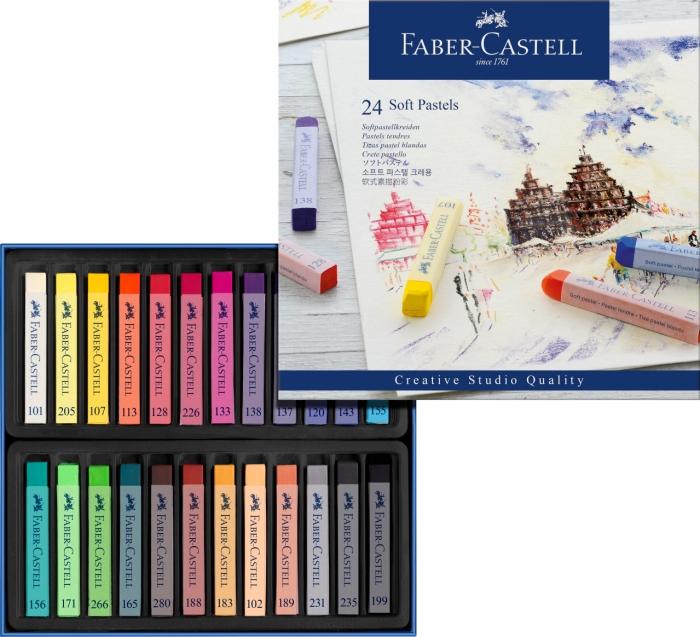 Cutie Creioane Pastel Soft 24 culori Faber-Castell 1