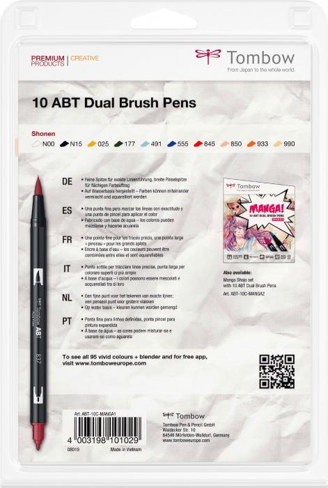 ABT Dual Brush Pen Manga Sohnen - Set 10 Culori Tombow [2]