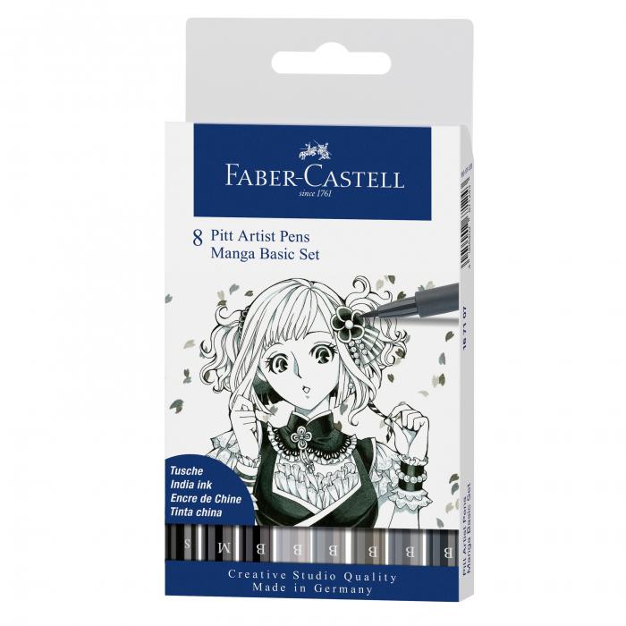 Pitt Artist Pen Manga Set 8 Buc De Baza Faber-Castell [0]