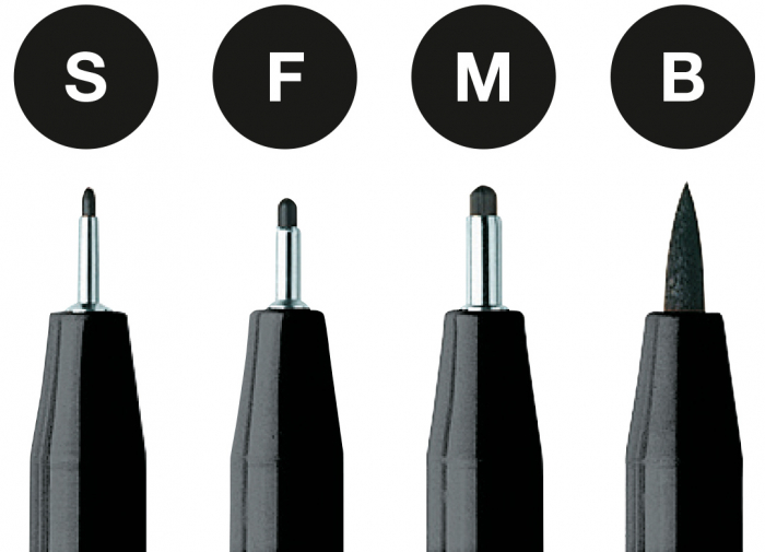 Pitt Artist Pen Negru 4 buc (S, F, M, B) etui plastic Faber-Castell 1