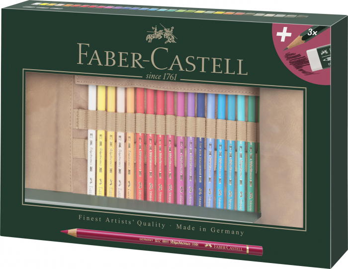 Rollup 30 Creioane Colorate Polychromos + 3 Creioane Faber-Castell 9000 Faber-Castell 0