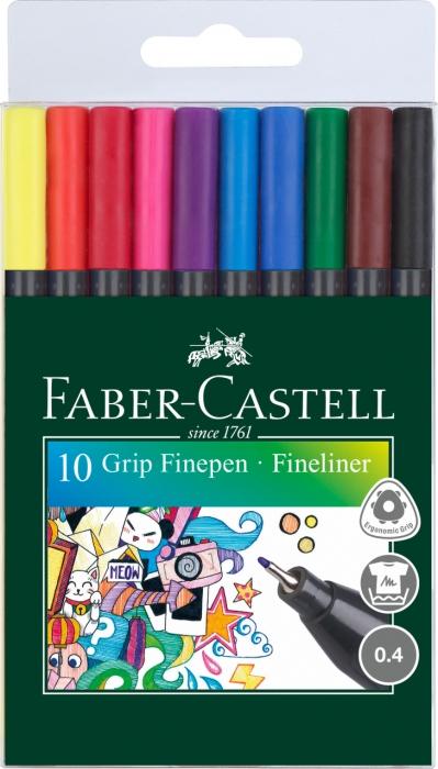 Set 10 culori Liner 0.4 mm Grip Faber-Castell 0