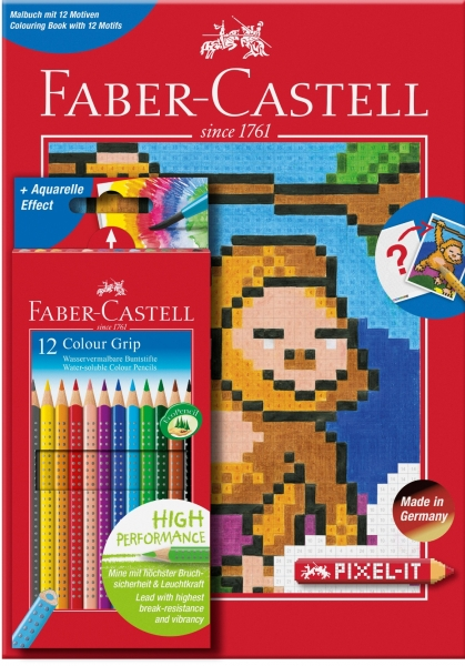 Set 12 Creioane Colorate Grip si Carte Colorat Pixel Faber-Castell 0
