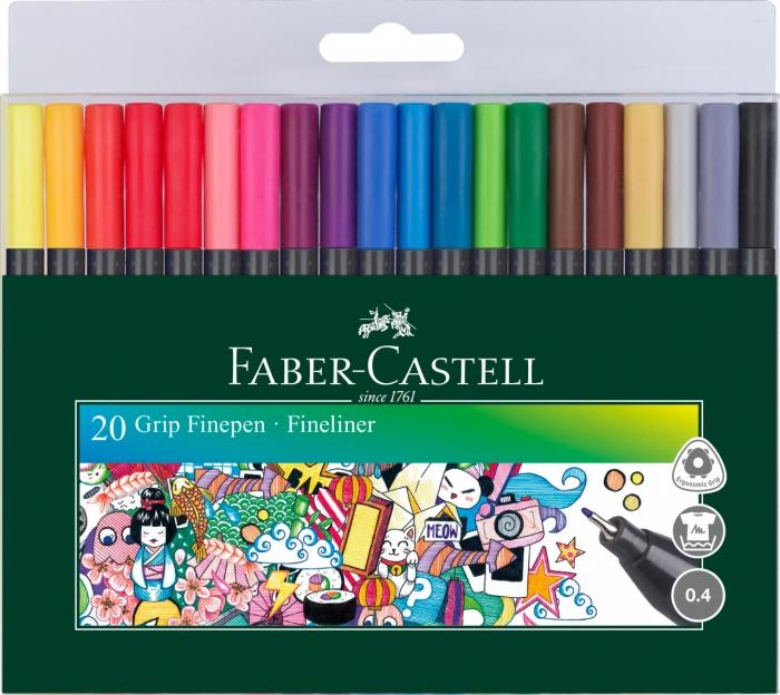 Set 20 culori Liner 0.4 mm Grip Faber-Castell [0]