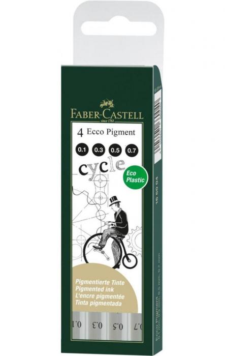 Set 4 Liner Ecco Pigment Negru 0.1, 0.3, 0.5, 0.7 Faber-Castell [0]