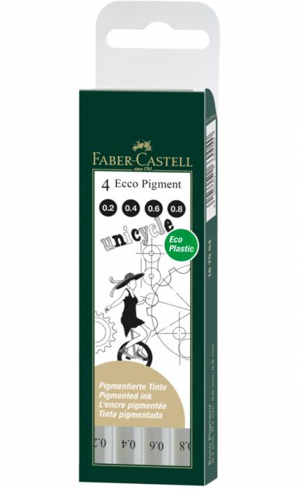 Set 4 Liner Ecco Pigment Negru 0.2, 0.4, 0.6, 0.8 Faber-Castell [0]