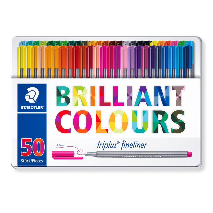Set 50 culori Fineliner Triplus 0.3 mm Staedtler [0]