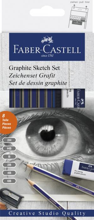Set 6 Creioane Grafit Goldfaber cu Radiera si Ascutitoare Faber-Castell 0