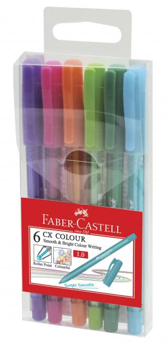 Set 6 culori Roller 1mm Semi-Gel CX Colour Faber-Castell 0