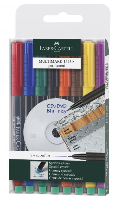 Set 8 culori Marker Permanent S Multimark Faber-Castell 0