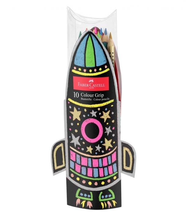 Set Cadou Racheta Creioane Colorate Grip 5 Neon + 5 Metalizate Faber-Castell [0]