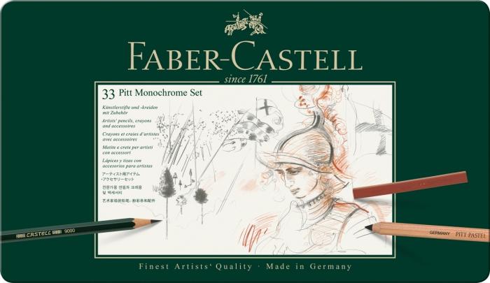 Set Pitt Monochrome Grafit+Carbune+Pastel 33 Buc Faber-Castell 1