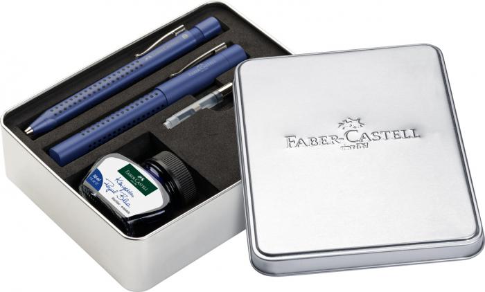 Set Stilou + Pix Grip 2011 Albastru + Convertor + Calimara in Cutie Metalica Faber-Castell 0