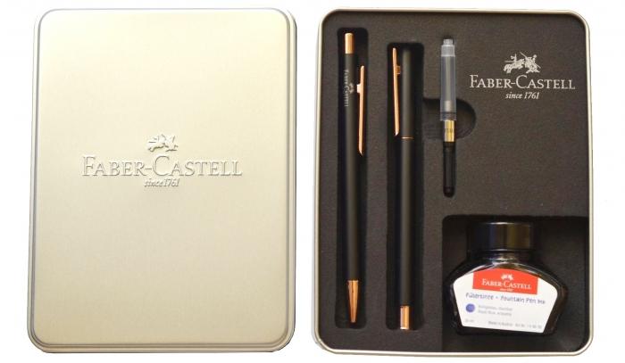 Set Stilou + Pix Neo Slim Metal Black Rosegolden Faber-Castell [1]