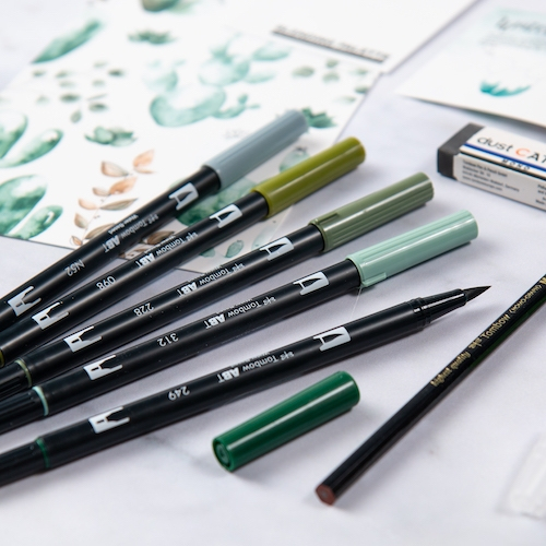 Set Watercoloring Greenery Tombow 5