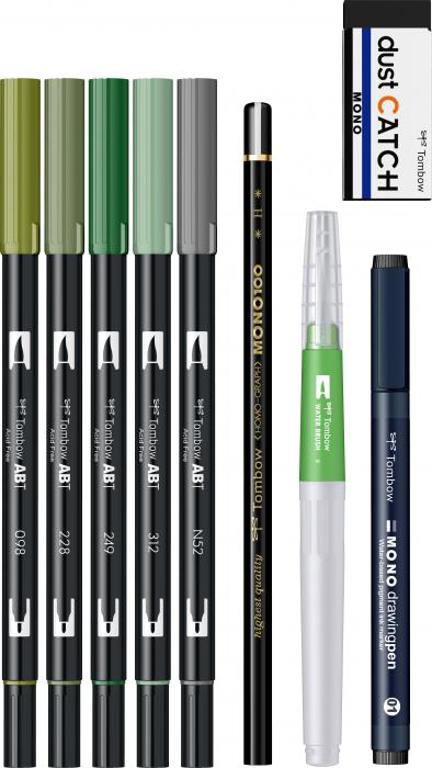 Set Watercoloring Greenery Tombow 1