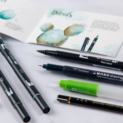 Set Watercoloring Greenery Tombow 4