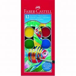 Acuarele 12 culori Pensula pastila de 30 mm Faber-Castell1