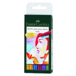 Pitt Artist Pen Set 6 buc culori de baza Faber-Castell0