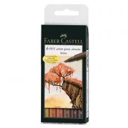 Pitt Artist Pen Set 6 buc, nuante pamantii Faber-Castell0