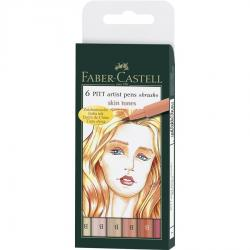 Pitt Artist Pen Brush Set 6 Buc Tonurile Pielii Faber-Castell0