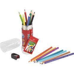 Set Cadou Racheta 8 Creioane Colorate Grip si Ascutitoare Faber-Castell1