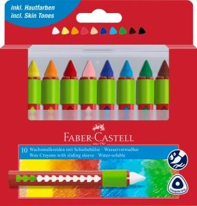 Creioane Cerate Solubile cu Protectie 10 Culori Faber-Castell0