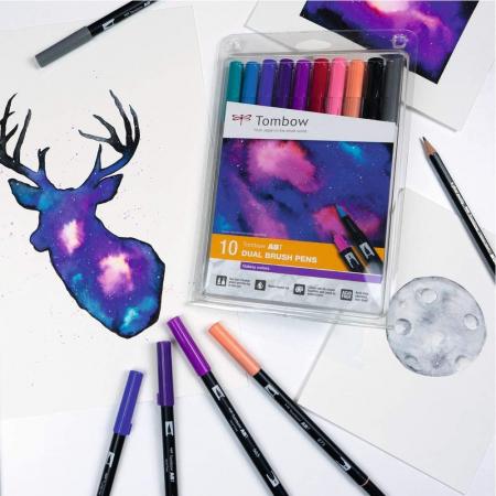 ABT Dual Brush Pen Galaxy Colors Set 10 Culori Tombow1