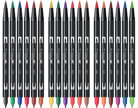 ABT Dual Brush Pen Primary Colours - set 18 culori Tombow2