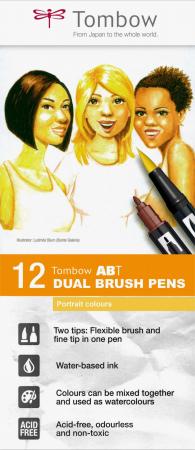Set 12 Marker Dual Brush Watercoloring Tombow ABT Portrait Colours [0]