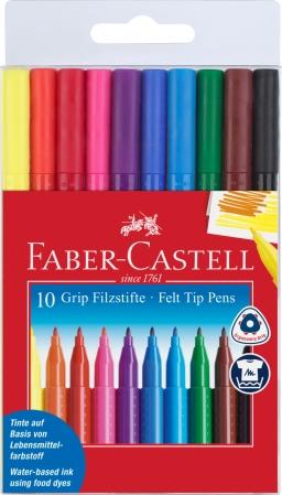 Carioca Grip 10 culori in etui plastic Faber-Castell [0]