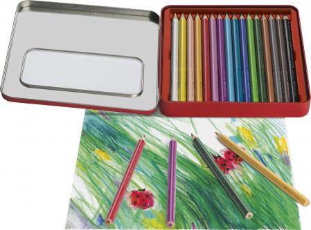 Creioane Colorate 16 Culori Jumbo Grip Cut Metal Faber-Castell [1]