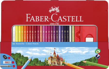 Creioane Colorate 48 Culori si 4 Accesorii Cutie Metal Faber-Castell0