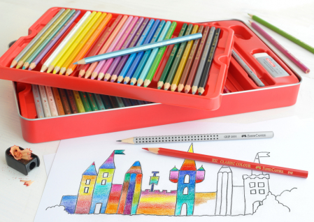 Creioane Colorate 60 Culori si Accesorii Cutie Metal Faber-Castell2