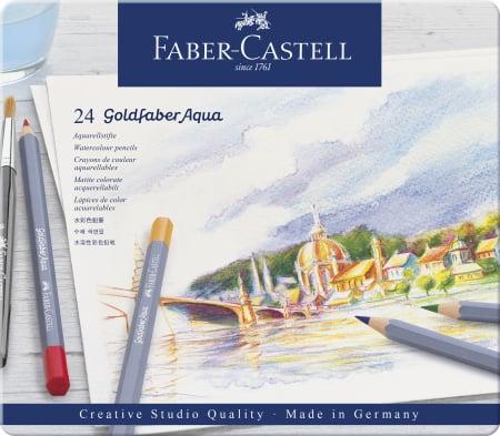 CREIOANE COLORATE AQUARELLE 24 CULORI GOLDFABER CUT. METAL Faber-Castell0