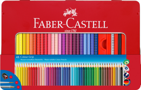 Creioane Colorate Grip 2001 48 Culori Cutie Metal Faber-Castell0