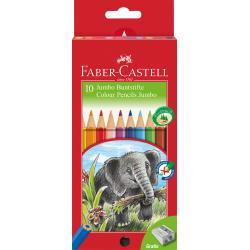 Creioane Colorate Jumbo 10 culori + Ascutitoare Faber-Castell0