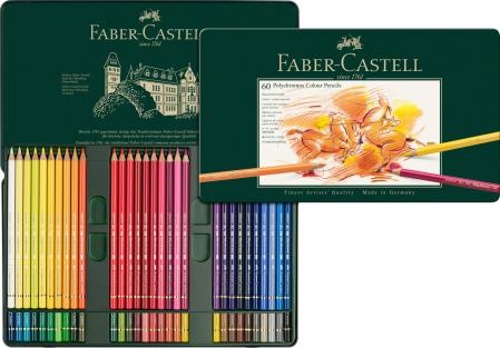 Creioane Colorate Polychromos 60 Culori Cutie Metal Faber-Castell0