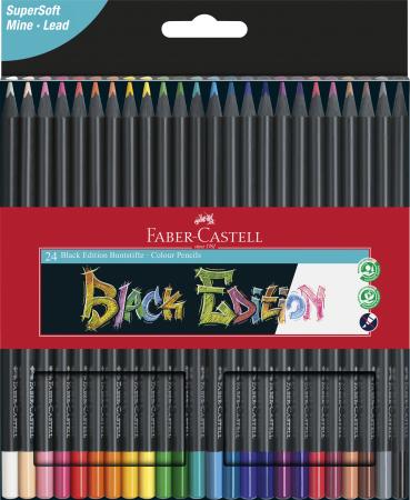 Creioane colorate triunghiulare cutie carton 24 culori Black Edition Faber Castell [0]