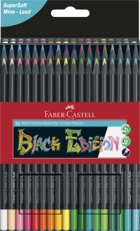 Creioane colorate triunghiulare cutie carton 36 culori Black Edition Faber Castell [0]