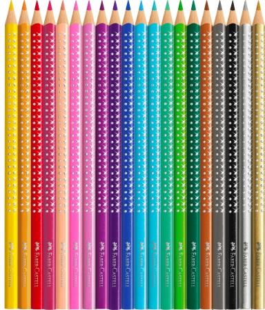 Set Cadou 20 Creioane Colorate Sparkle + Ascutitoare Sleeve Faber-Castell [1]