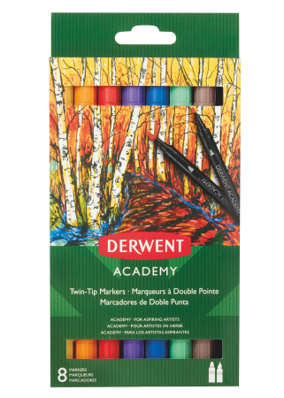 Markere cu 2 capete - varf tip pensula si varf fin, 8 buc/set Derwent Academy [0]