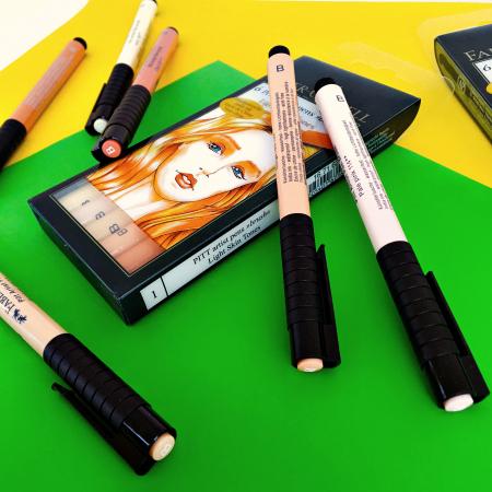Pitt Artist Pen Brush Set 6 Buc Tonurile Pielii Faber-Castell3