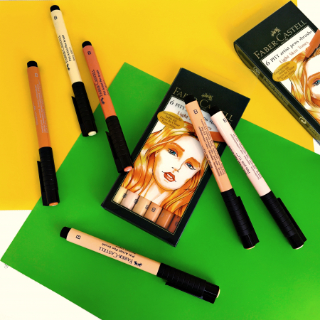 Pitt Artist Pen Brush Set 6 Buc Tonurile Pielii Faber-Castell1