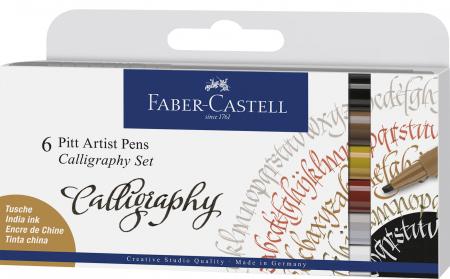 Pitt Artist Pen Caligrafie 6 buc/set Faber-Castell [0]