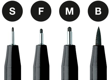 Pitt Artist Pen Negru 4 buc (S, F, M, B) etui plastic Faber-Castell1