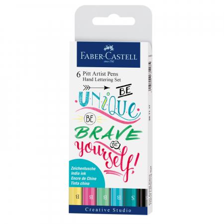 PITT ARTIST PEN SET CALIGRAFIC 6 BUC PASTEL Faber-Castell0